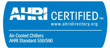 AHRI certified chiller mark 550/590
